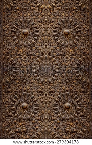 Decorative Islamic Wood Art Door Background - stock photo