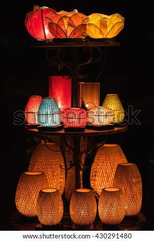 Decorative lanterns made of handicraft bamboo braid basket in Hoi An ancient town, Vietnam - stock photo