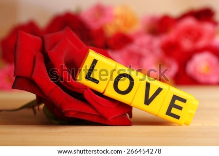 Decorative letters forming word LOVE with flowers on bright background - stock photo