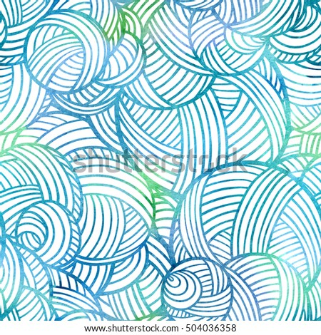 Decorative loops and balls elements seamless pattern.
