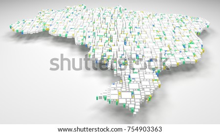 Decorative Map of Brasil - Latin America | 3D mosaic of little bricks - Flag colors