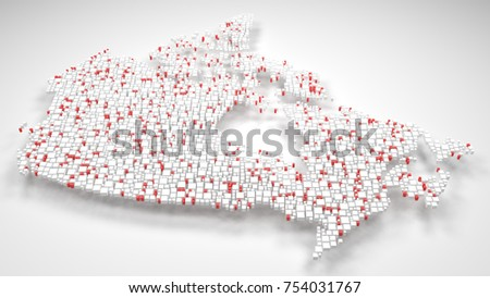 Decorative Map of Canada | 3d mosaic of little bricks - Flag colors