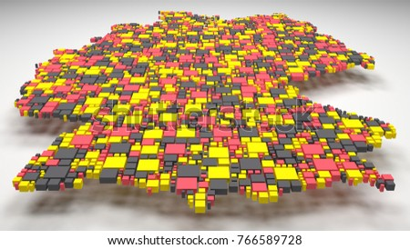 Decorative Map of Germany - Europe | 3D Rendering: mosaic of little bricks - Flag colors