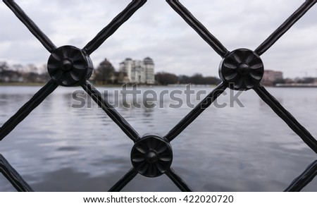 Decorative metal fence. Wrought-iron fencing.  - stock photo