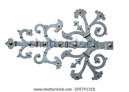 Decorative metal hinge isolated over white background - stock photo