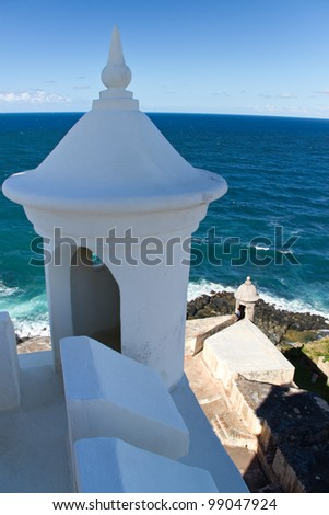 Decorative minaret on lighthouse at San Juan National Historic Sight, San Juan, Puerto Rico - stock photo