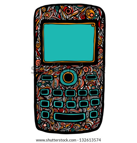 Decorative mobile cell phone with pattern and color forms, the icon - raster version - stock photo