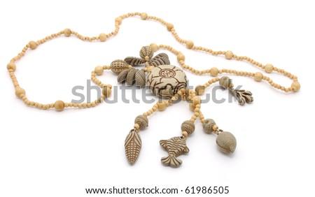 Decorative necklace on a white background - stock photo