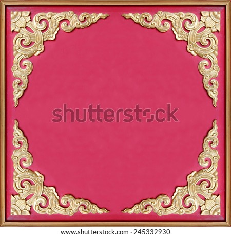 Decorative old golden picture frame  - stock photo