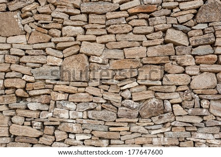 Decorative old look rough surface rubble stone wall varied pattern texture background image