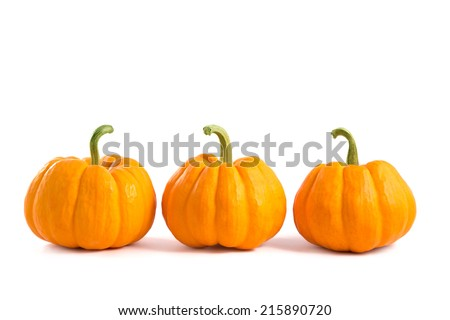 Decorative orange pumpkins, isolated on white background  - stock photo