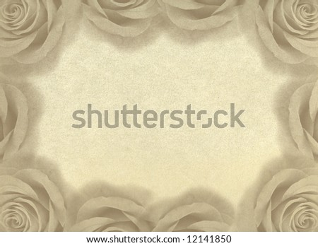 Decorative ornament with roses on an old paper. An element of design for a congratulatory background. Vintage background. - stock photo