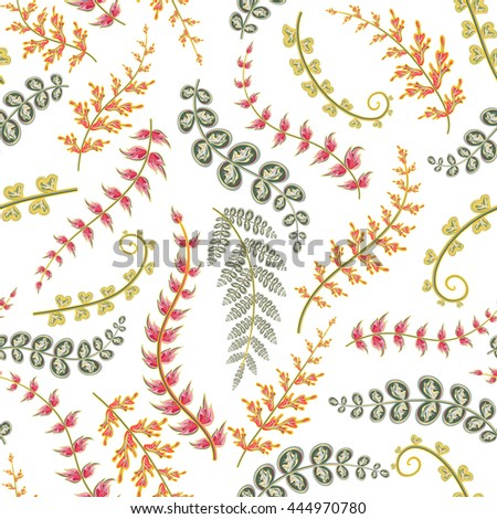 Decorative ornamental seamless spring pattern. Endless elegant texture with red orange gray leaves. Template for design fabric, backgrounds, wrapping paper, package, covers