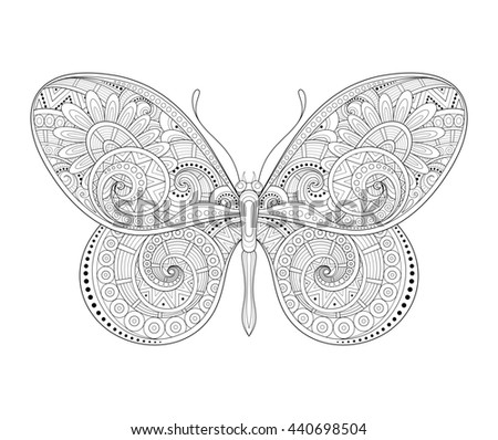 Decorative Ornate Butterfly. Monochrome Illustration of Exotic Insect. Patterned Design Element - stock photo
