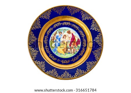 Decorative painted plate. - stock photo