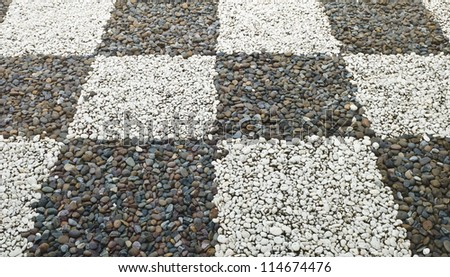 Decorative Pattern Of Floor Gravel Stone In Garden