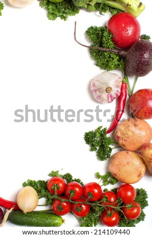 decorative pattern of fresh vegetables on white background. Concept of healthy food.