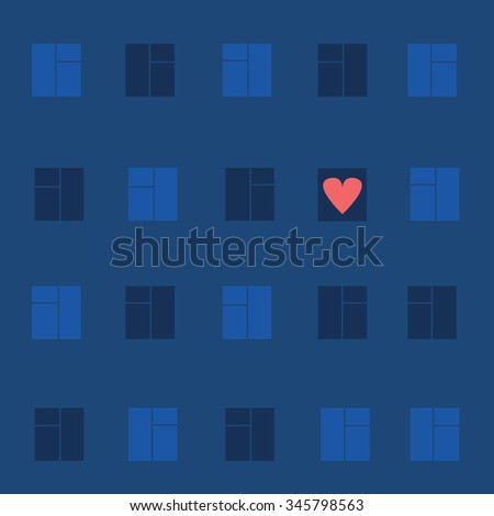 decorative picture of the house with Windows. in one window heart