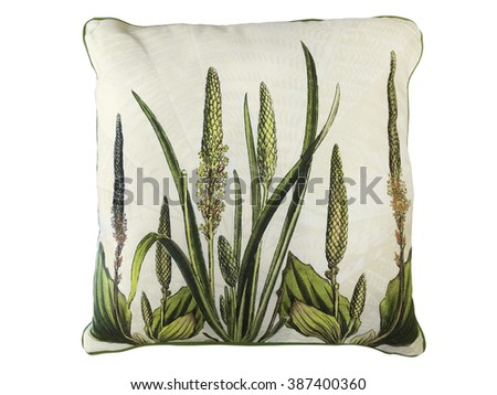 Decorative pillow with natural pattern - green leaves and flowers. Isolated on white background - stock photo