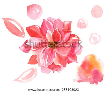 Decorative pink flower with additional watercolor design elements on white background