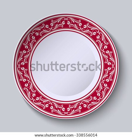 Decorative plate with floral painting on the edge of the ethnic oriental style, isolated on gray background. Rasterized version. - stock photo
