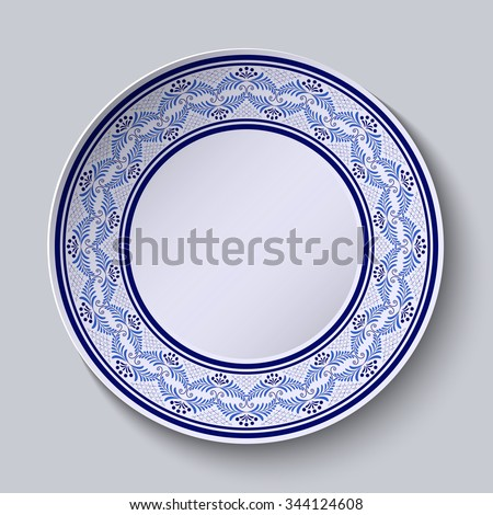 Decorative plate with painted blue floral pattern in ethnic style. Rasterized version. - stock photo