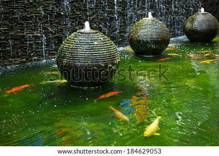 Stone fountain stock images royalty free images vectors for Golden ornamental pond fish