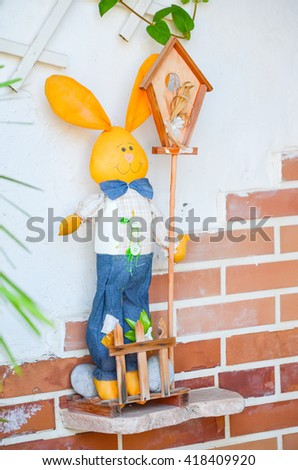 decorative rabbit on Greek Street - stock photo