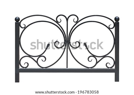 Decorative  railing  in old  stiletto. Isolated over white background. - stock photo