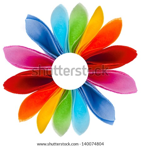 decorative rainbow flower of colored paper napkins isolated on white background - stock photo