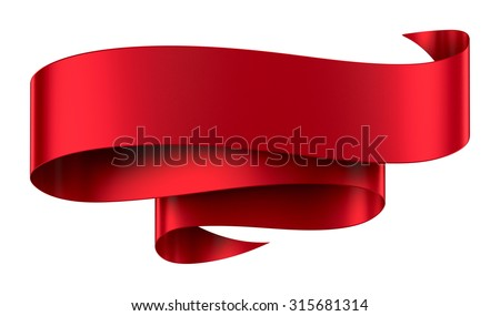 Decorative red ribbon banner isolated on white - stock photo