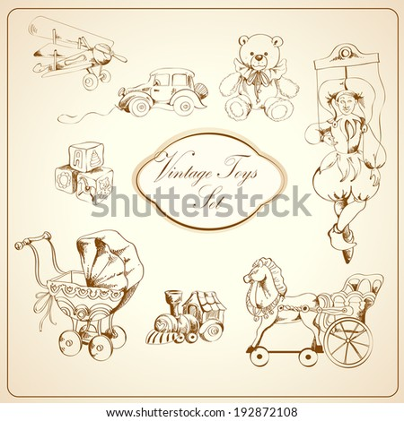 Decorative retro kids toys sketch icons set of airplane car teddy bear puppet isolated  illustration - stock photo