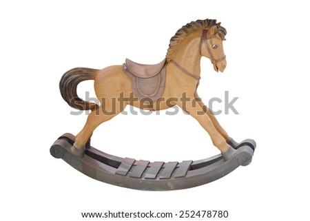 decorative rocking horse isolated under the white background - stock photo