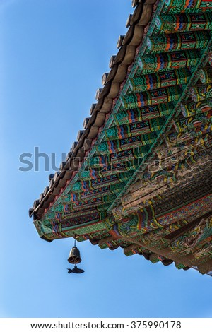 decorative roof of an ancient building