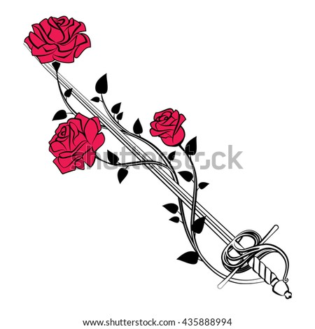 Decorative roses with sword. Blade entwined roses. Floral design elements. - stock photo