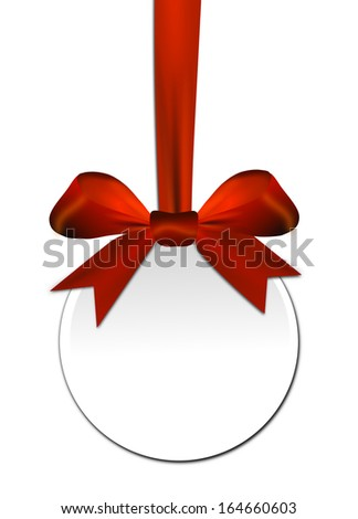 Decorative round with red bow on a white background