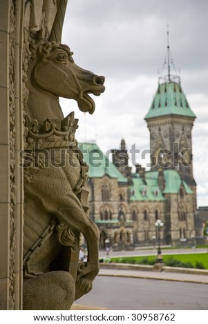 Decorative sculpture of the Parliament building main entrance, Ottawa, Canada - stock photo
