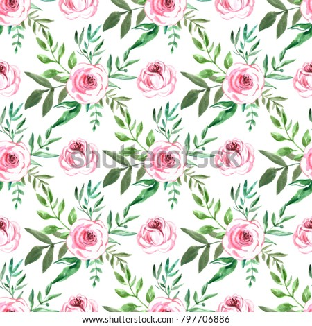 Decorative Seamless Pattern With Flowers Beautiful Floral Background Of Watercolor Sketches For The Design And