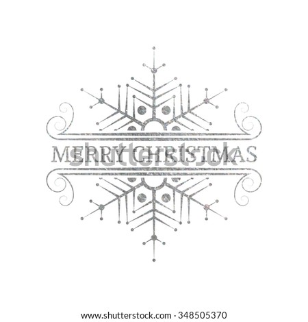 Decorative silver textured Christmas design element. Typographic vintage label, frame, border, badge. Illustration for banner, invitation, postcard, card, vignette. Raster copy of vector file. - stock photo