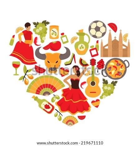 Decorative spain cultural traditions flamenco dance food grape vine emblems heart shape print poster abstract  illustration - stock photo