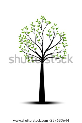 Decorative Spring Tree Silhouette With Green Leaves - stock photo