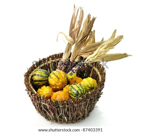 Decorative Squash And Colorful Corn In A Wooden Basket - stock photo