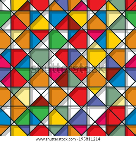 Decorative stained glass seamless pattern design - stock photo