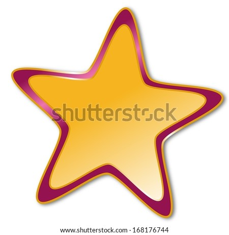 Decorative star with dark red and golden frame on a white background