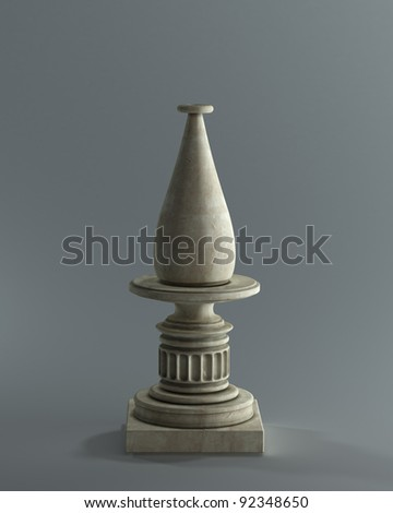 Decorative Stone vase on a podium. High resolution 3D image