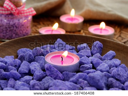 Decorative stones and candles