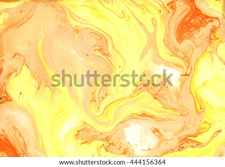 Decorative texture. Beautiful abstract background. Marble. Modern creative artwork. Mixed colours. Orange acrylic paint and yellow ink on paper. Contemporary art. - stock photo