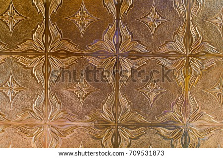 Decorative Tin Tile Metallic Wall Covering Stock Photo (Royalty Free ...