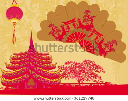 Decorative Traditional lanterns ,Chinese landscape and beautiful fans card