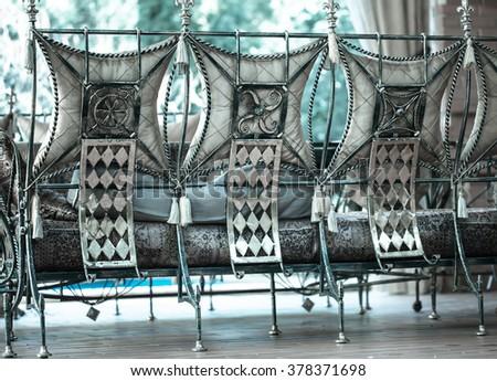 Decorative vintage metal chairs furniture  - stock photo